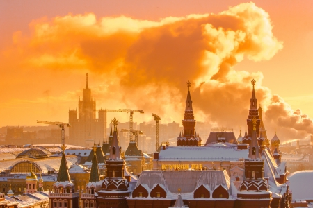 Sunrise over Red Square on a winter morning of Moscow Kremlin  Russia