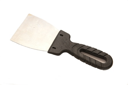 putty knives: scraper with black handle on white background