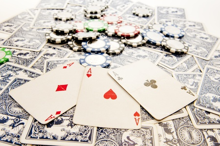 aces with poker chips