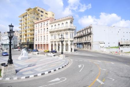 paseo: El Paseo del Prado, a famous street in Havana near View of the Malecon road