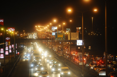 jams: SERBIA, BELGRADE - DECEMBER 26, 2013: Rush hour traffic before New Year. Traffic jams are a product of overpopulation and an under-pressure infrastructure
