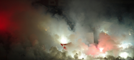 pyrotechnics: Soccer or football fans using pyrotechnics