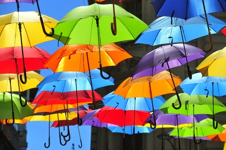 Street decorated with colored umbrellas photo