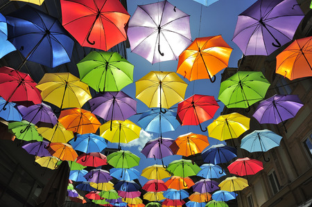 Sky decorated with colored umbrellas