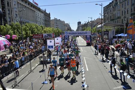 BELGRADE, SERBIA - APRIL 16: A group of runners at finish line of half-maraton during 29th Belgrade Marathon 2016 on April 16, 2016 in Belgrade, Serbia.