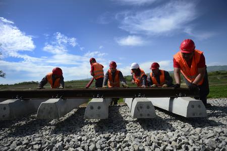 modernization: VRANJE, SERBIA - APRIL 22: Work on the reconstruction and modernization of several sections of railway Corridor 10, total length of 46 kilometers near Vranje, Serbia on April 22, 2016 Editorial