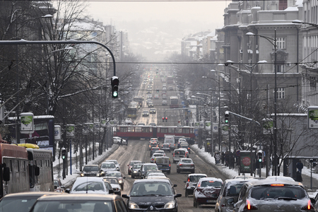 SERBIA, BELGRADE - JANUARY 11, 2017: Transportation jammed and stuck on the city because of unexpectedly massive snowfall in Belgrade, Serbia on January 11, 2017