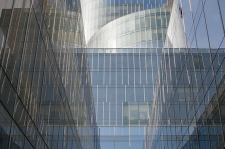 Architecture of geometry at glass windows at modern office building