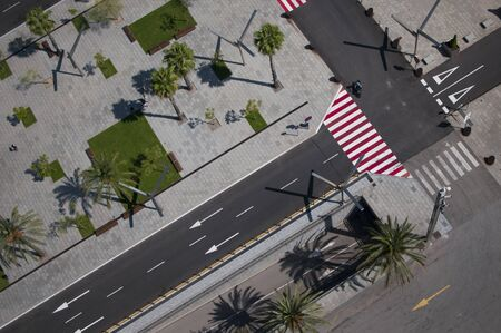 Aerial view of a crossroad with separated pedestrian and bicycle lanes