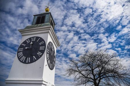 Clock Tower in Petrovaradin Fortress near Novi Sad, Serbia Standard-Bild - 129176532