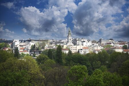 Panoramic view of Belgrade city, capital of Serbia, with a lot of trees and Cathedral church in the middle Stok Fotoğraf