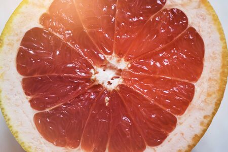Grapefruit sliced half . Citrus fruit macro.Top view. Summer food concept. Stok Fotoğraf