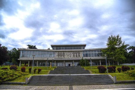 BELGRADE, SERBIA - MAY 22, 2019: Exterior view of Museum of Yugoslav History, a public history museum in Belgrade, Serbia. Also known as Museum of 25th of May.