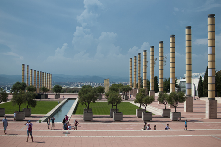 BARCELONA, SPAIN - SEPTEMBER 9, 2014: Tourists at Olympic park on Monjuik hill in Barcelona. Passage Minici Natal