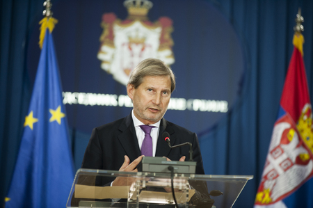BELGRADE, SERBIA - NOVEMBER 20, 2014: EU commissioner Johaness Hahn during a joint press conference with the president of Serbia after their meeting