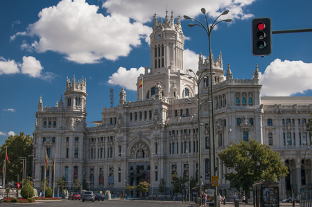 MADRID, SPAIN - SEPTEMBER 14, 2014: General view of main entrance to The Palacio of Cibeles (also called the Telecommunications Palace) in Madrid. It is the City Hall of the spanish capital Redakční