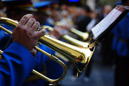 BELGRADE, SERBIA - APRIL 22, 2014: Honorary orchestra of Serbian Army play music during promotion march in Knez Mihajlova street in Belgrade, Serbia 報道画像