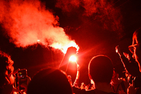 BELGRADE, SERBIA - 4 APRIL, 2017: Demonstrators lit torches during protest against the Serbian president in Belgrade