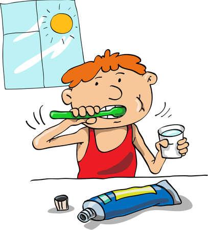 lad: El ni�o limpia-un cepillo de dientes y una pasta de dientes en la ma�ana
