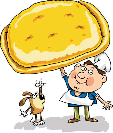 confectioner: The cook the confectioner prepared has baked a pie holds and shows this pie. The dog looks and licks lips Illustration