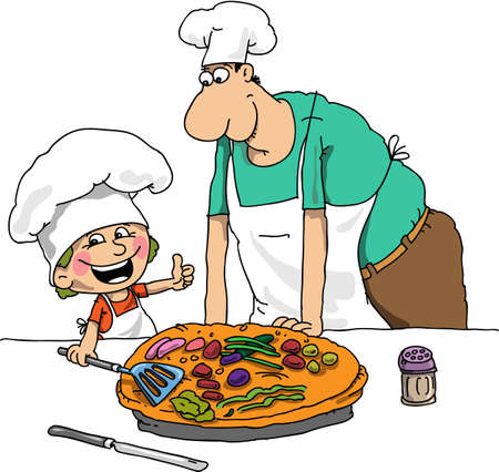 savoury: The boy and the cook have baked a pie
