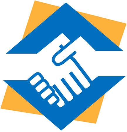 manos logo: Las prensas de la mano de un lado, da la bienvenida, la amistad, la cooperaci�n