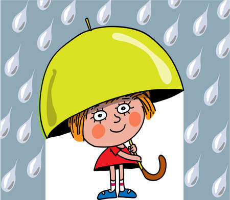 La bambina costa e tiene in mano un ombrello. Piove.