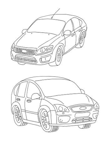 Contours, lines of cars   Vector