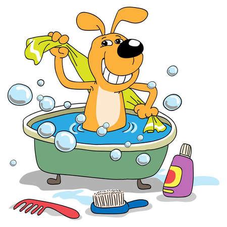 El cachorro alegre baña en un baño