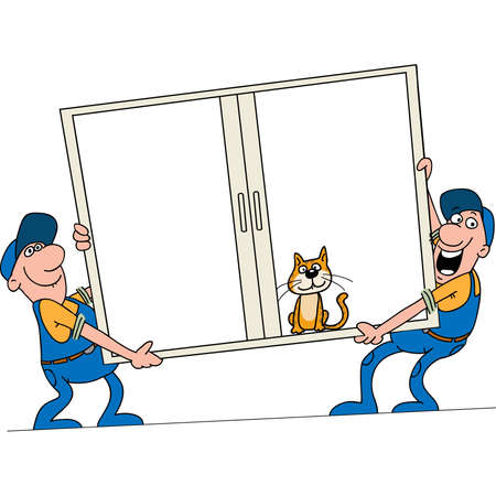 Installation of windows. Workers bear a window to the customer Stock Vector - 7596154