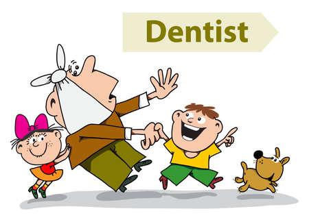 dentista: Los ni�os, una hija y el hijo y est�n tratando de persuadir a un padre miedo al dentista Vectores