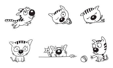 sleeps: The little kitten playing with fun runs, jumping, fun Illustration