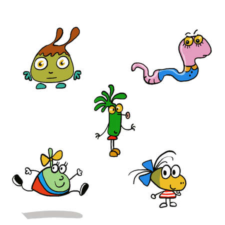 funny pictures: Little monsters, funny characters running around having fun, playing