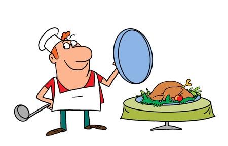 serve: merry cook Stock Photo