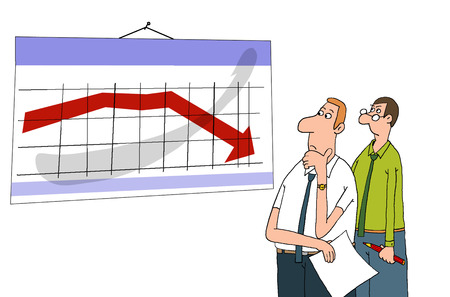 downfall: Workers standing, looking at the schedule, see the performance drop, the decline in the Stock Photo