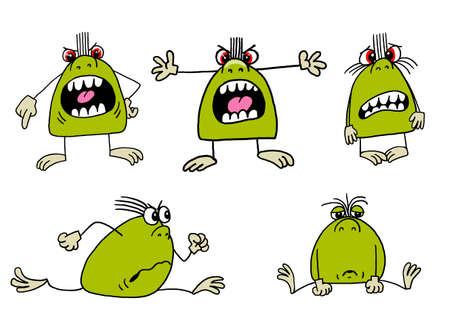 frowning: Monster, horror jumping scares, runs, frowning, sad