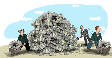 millionaire: On the ground lies a mountain of money, business making money, carry their carts Stock Photo