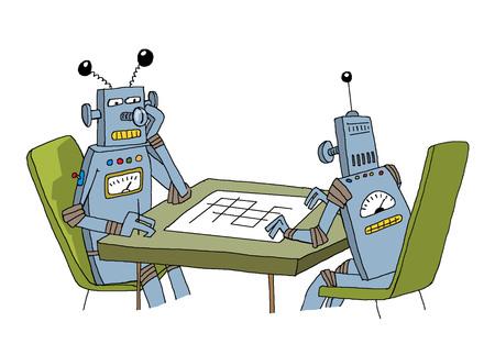 2 台のロボットは、ゲーム テーブルで座っています。 写真素材