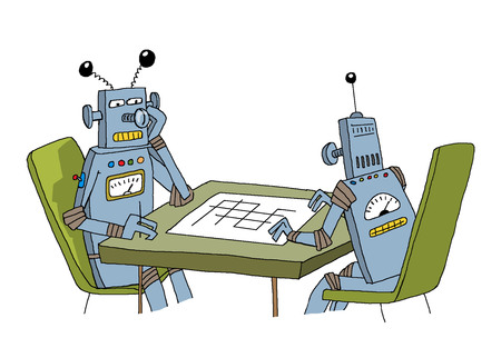 Two robots are sitting at the table playing a game