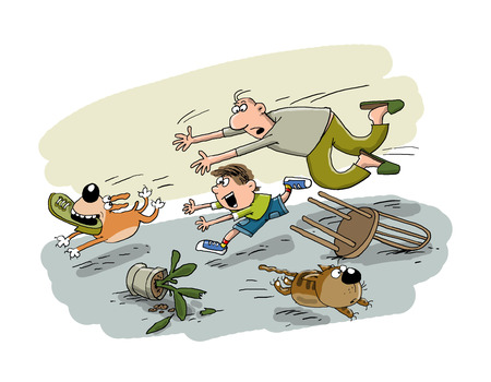 panting: The dog grabbed the boots and runs from the owners
