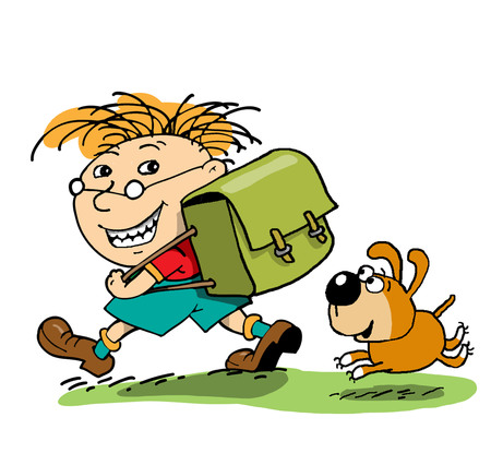 runs: Little pupil is going to school near a dog runs Stock Photo