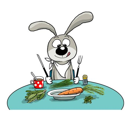 The cheerful hare sits at a table, eats Stock Photo