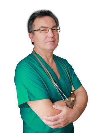 Portrait of a confidence smiling doctor isolated on white background. photo