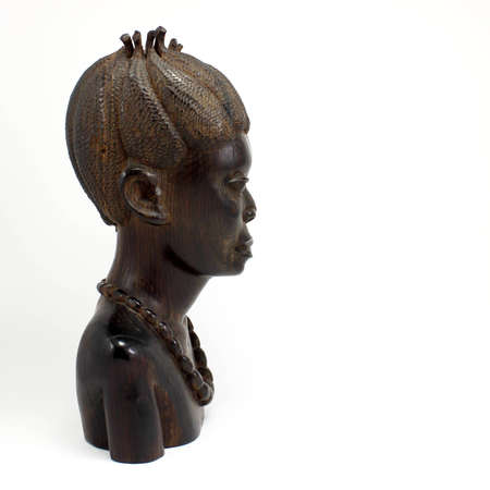 Bust of a Wooden African Woman Isolated on White.