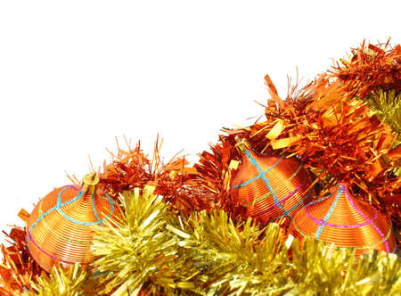 Orange-Yellow Christmas Decorations and Orange-Yellow Tinsel on White Background.