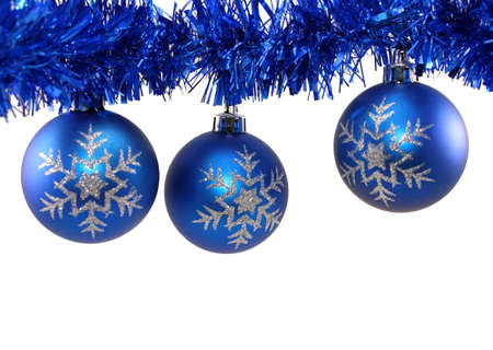 snowflake blue christmas decorations and blue tinsel on white background stock photo 11727472 - Blue Christmas Decor
