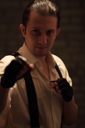 Portrait of young serious mafia man Stock Photo - 17928374