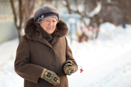 Winter portrait of the old woman