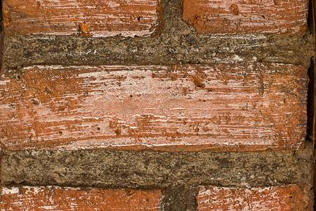 Red brick wall close up pattern