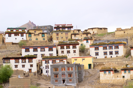 Life in Tibetan village on the top of the mountains in the Himalayas